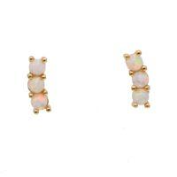 2019 drop shipping narin tiny bar 925 Ayar Şerit Moda Takı üç opal tiny Kübik Zirkonya Saplama Küpe Kadınlar için