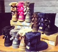 2021 Sprzedaż fabryki Nowa Australia Klasyczne Wysokie buty zimowe Prawdziwa Skóra Bailey Bowknot Damskie Buty Buty Buty
