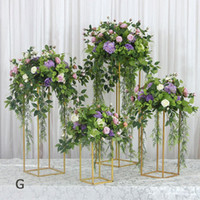 Artificial wedding party centerpiece table stage backdrop Iron stand Road lead flower Geometric square stand silk flowers 2020set decoration