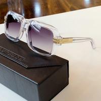 전설 크리스탈 골드 스퀘어 선글라스 607 Des Lunettes 드 Soleil 남자 태양 안경 새로운 상자