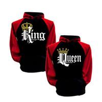 Pares de la manera con capucha rey y la reina His and Hers Nuevo Diseño de los pares a juego con capucha Tops