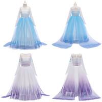 Neue Schneekönigin 2 Pincess verkleiden Kostüm Kinder Langarm gedruckt Kleider Halloween-Weihnachtsfest-Kleid für Mädchen-Geschenk-M1453
