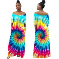 Donne Bohemia Print Casual Summer Dress Summer Sexy Off Spalla manica corta Pocket Dress Long Dress Beach Wear Abiti Maxi Abiti
