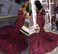 Maroon Borgogna Prom Dresses 2019 Mermaid Illusion Paillettes Lace Top Black Girls 'Plus Size Pageant Evening Formal Party Gown BC1250