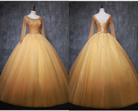Glittering Gold Cheap Quinceanera Prom dresses Ball Gown Bat...