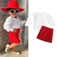 Criança Roupa menina Puff Floral manga comprida T-shirt Short Skirt Outfit Set Knit Top Suit Cotton Casual