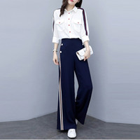 Casual Striped Pants Sets 2019 New Summer Fashion Elegante Runway Abbigliamento donna 2 pezzi Set T-Shirt donna gamba larga Pantalone