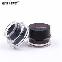 음악 꽃 블랙 + 브라운 2 색 젤 아이 라이너 얼룩 방지 방수 눈 라이너 아이 라이너 아이 라이너 젤 메이크업 화장품 + 브러시 M007