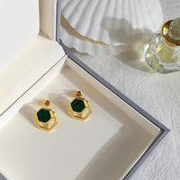 Fashion- Stahl Marke Mode Luxusdesigner neue Ohrringe Polygon Malachit-Ohrringe Liebe für Frauen Charm Liebes-Halskette Schmuck Großhandel