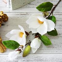 ترف طويل الجذعية 4 رؤساء الاصطناعي ماغنوليا زهرة فرع للمنزل الزفاف الديكور الزهور وهمية حديقة ديكور فلوريس