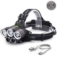 Super Helle 5000LM 5x XM-L T6 LED Wiederaufladbare USB Scheinwerfer Scheinwerfer Zoomable Wasserdichte 6 Modi Taschenlampe für Angeln Camping Jagd