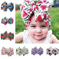 2020 Baby Girls Hair Band Headbands DIY Kids Headwrap Large Width Flower Print Bowknot Elastic Band Newborn Headress Hair Accessories D22604