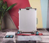Yüksek kaliteli PC aşınma önleyici malzeme TSA gümrük kalınlaşmış mg-Al alaşımlı bavul köşe büyük kapasiteli seyahat çantası hava vaka 20/26/29 Inche kilitlemek