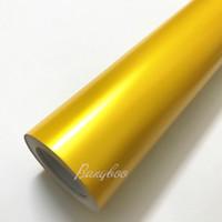 1.52 * 20м Высокое Качество ПВХ Автомобиля Наклейки Всего Тела Желтый Атлас Металлический Матовый Хром Винил Wrap
