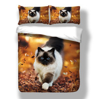 Stampa 3D Autumn cat orange Set biancheria da letto Twin Full Queen Size Size Serie animali Set copriletto con federa di biancheria da letto