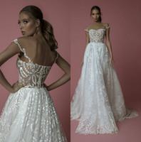 2019 Idan Cohen 웨딩 드레스 라인 깎아 지른 쥬얼리 넥 레이스 Appliqued Bridal Gowns Boho Beach 플러스 사이즈 위시리스트