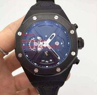 Livraison gratuite Factory nouvelles montres pour hommes mouvement chronographe quartz conception d'affichage dynamique 44 mm Cadran noir watchcase Montres-bracelets