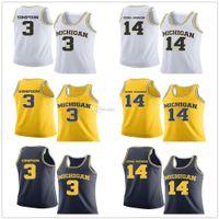 Michigan Wolverines Koleji Herhangi Numarası Adı 3. Zavier Simpson # 14 Riko Ozuna-Harrison Basketbol Formalar Mens Dikişli Özel
