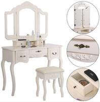 Бесплатная доставка оптовые продажи Tri-Fold Mirror Worker с туалетным стулом белый туалетный столик 5 ящиков