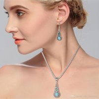 Earring Necklace Jewelry sets Turquoise pasted calabash shape alloy pendant Necklace antique silver plated metal chain