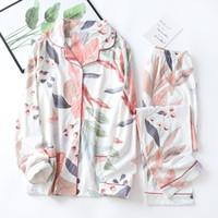 Elegante stampa floreale delle donne di 100% cotone Sleepwear Pajamas Set Femme Pajamas Set Homewear maniche lunghe pantaloni sonno Clothes