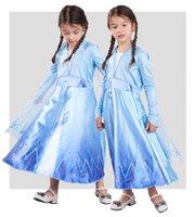 Costumi di Halloween per bambini neve ragazze dei vestiti della regina cosplay ragazze doni di Natale One Piece Blue Princess Dresses Imposta KSS387 all'ingrosso