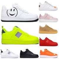 Nike air force 1 Bege Running Shoes branco utilitário preto Volt geléia tênis Bege Laranja Linho Olive Branco Homens Mulheres