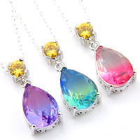 New style Christmas Gift Water Drop Bi colored Tourmaline Gems 925 Sterling Silver Bridesmaid bride Pendants for Necklaces Women