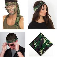 Bandanas militaire Paisley 100% coton Camouflage Hearwear Imprimer Unisexe Pocket SquareHip-Hop Foulard pour le cyclisme en plein air 12pcs / lot
