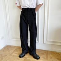 الرجال الخصر تصميم على نطاق واسع الساق عارضة سروال البدلة الطويلة ذكر الشارع الشهير عرض أزياء الملابس الداخلية