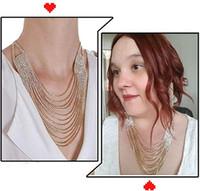 Frauen Chunky Strass Halskette Troddel-Kragen-Statement Halskette mit voller Strass Bling Halskette Schmuck für Weihnachten Hochzeit