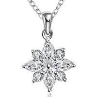 Collana pendente in zircone placcato argento Fiore di loto modello S925 Collana in argento romantico elegante per le signore Regali San Valentino POTALA581