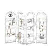 240 hål display rack stativ smycken hängare arrangör akryl örhängen halsband armband hållare vikbara smycken display vikningsställ