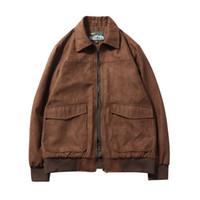 Herren-Jacken Winter-Suede Retro Lapels Vintage-Cargo-Jacken für Männer Outwear Kleidung lose plus Größe M-6XL