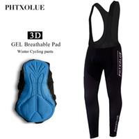 Phtxolue 따뜻한 사이클링 턱받이 바지 겨울 열 산악 자전거 바지 자전거 스타킹 Coolmax 3D 젤 패드 사이클링 턱받이 바지