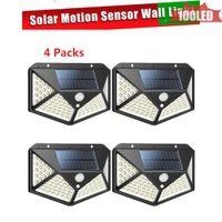 4 taraflı 100 LED'ler Güneş ışığı PIR Hareket Sensörü Güneş Enerjisi gece lambası LED Bahçe Işık Açık Güvenlik Güneş Duvar Lambası Su geçirmez