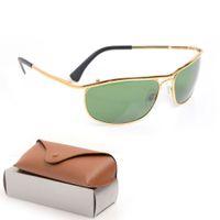 Gafas de sol para mujer de alta calidad Lente de cristal para hombre de lujo Gafas de sol 8012 UV Protección para hombres Diseñador Eyeeglass Metal Bisagra Moda Mujeres Espectáculos con cajas originales