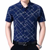 Мужские повседневные рубашки Browon 2021 рубашка лето с коротким рукавиным воротником в воротнике Одиночные погружные плед полиэфирное волокно платье мужская одежда