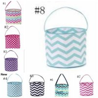 23styles righe Easter Basket Tela Coniglio Benne Easter Bunny Borse Plaid Egg Candy Baskets Saluto Bunny Tote feste GGA3191-2