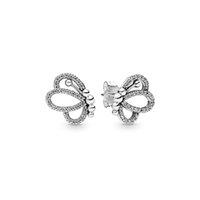 2019 nuovo arrivo 925 orecchini in argento sterling per pandora farfalla contorni orecchini di lusso designer orecchini donna scatola originale set