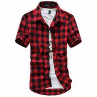 2019 New Fashion Mens Summer Casual Dress Shirt Camisas de manga corta a cuadros para hombre Tops Camisa Casua de manga corta para hombre M-3XL