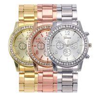 Strass Mode Montres en or Femmes Genève Montres-bracelets en acier luxe précarisés Quartz Relogio Feminino