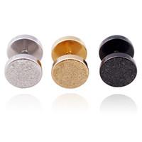 6-10mm gothic barbell ohrstecker titanium stahl herren punk matte doppelseitige runde gefälschte ohrstöpsel für frauen modeschmuck in groß