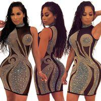 Mulheres sexy strass vestidos de malha sheer mini saia sem mangas moda clubwear designer de roupas de verão vestido skinny frete grátis 1034