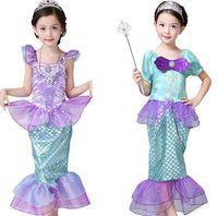 Ragazze Little Mermaid Princess Dress Costumi cosplay per bambini ragazza sirena abito bambini abbigliamento halloween abbigliamento sirena vestito 3stylesljjk2027