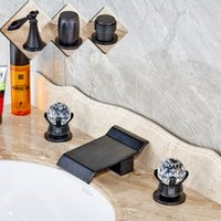 Oil Rubbed Black Waterfall Spout Two Handles Bathroom sink B...