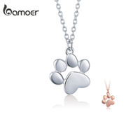 BAMOER genuino SCN275 joyería del gato del perro huellas de la pata de los collares de las mujeres de plata 925 linda Huellas de Animales
