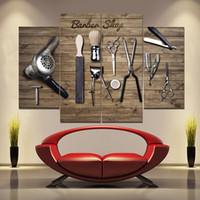 Las peluquerías y Herramientas Pinturas sin marco 4pcs (ninguno) printd en lona Arte Moderno pared del hogar del arte de la impresión de HD Pintura