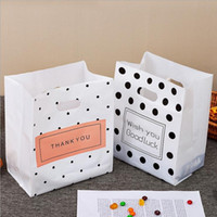 50pcs / lot Kuchen Brottasche Tupfen-Mode-Plastiktasche mit Handgriff Geschenk-Verpackung Danke Plastiktaschen