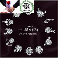 OMHXZJ ALL'INGROSSO Gioielli moda animale 12 costellazione dello zodiaco cinese Toro Leone REAL S925 ORECCHINI SOTTILE IN ARGENTO STERLING YS76